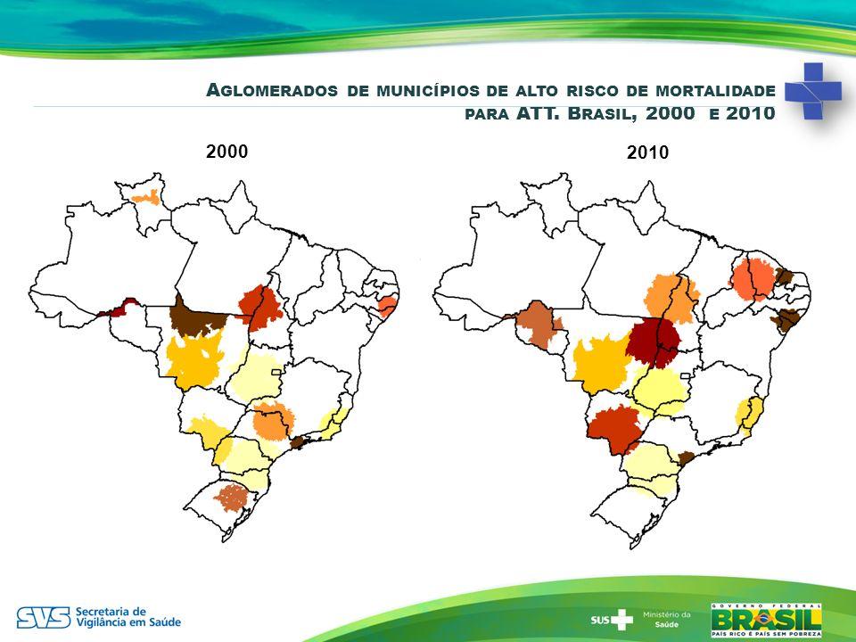 Aglomerados de municípios de alto risco de mortalidade para ATT