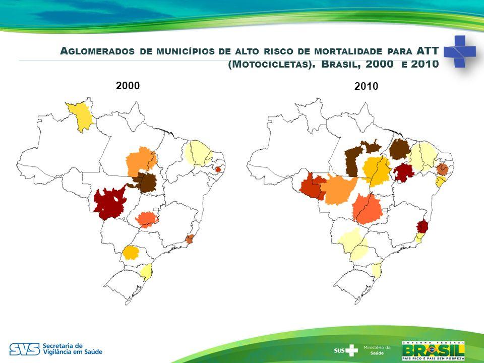 Aglomerados de municípios de alto risco de mortalidade para ATT (Motocicletas). Brasil, 2000 e 2010