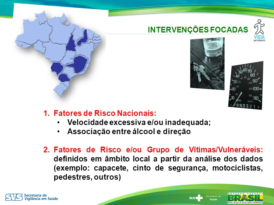 INTERVENÇÕES FOCADAS Fatores de Risco Nacionais: Velocidade excessiva e/ou inadequada; Associação entre álcool e direção.