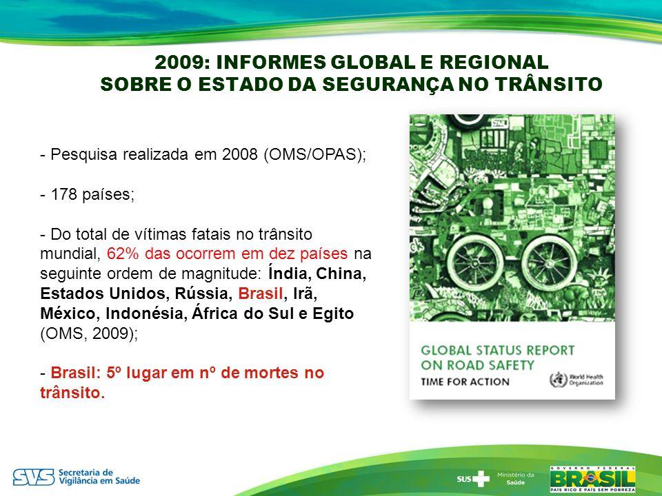 2009: INFORMES GLOBAL E REGIONAL SOBRE O ESTADO DA SEGURANÇA NO TRÂNSITO