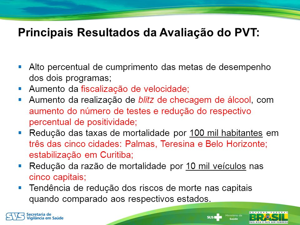 Principais Resultados da Avaliação do PVT: