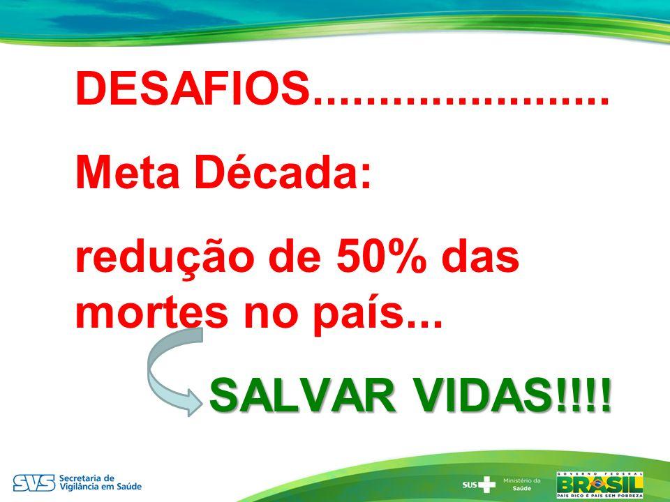 DESAFIOS....................... Meta Década: redução de 50% das mortes no país... SALVAR VIDAS!!!!