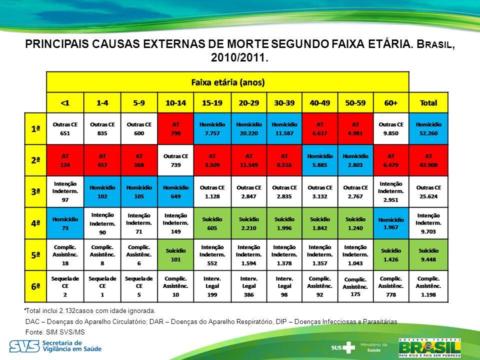 PRINCIPAIS CAUSAS EXTERNAS DE MORTE SEGUNDO FAIXA ETÁRIA