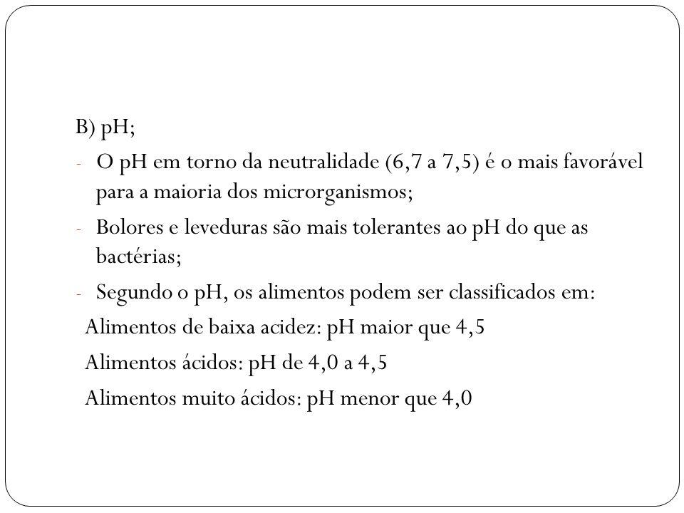 B) pH; O pH em torno da neutralidade (6,7 a 7,5) é o mais favorável para a maioria dos microrganismos;