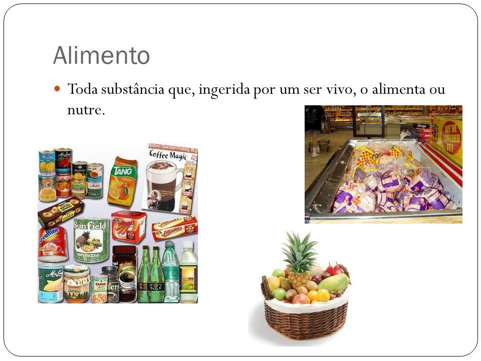 Alimento Toda substância que, ingerida por um ser vivo, o alimenta ou nutre.