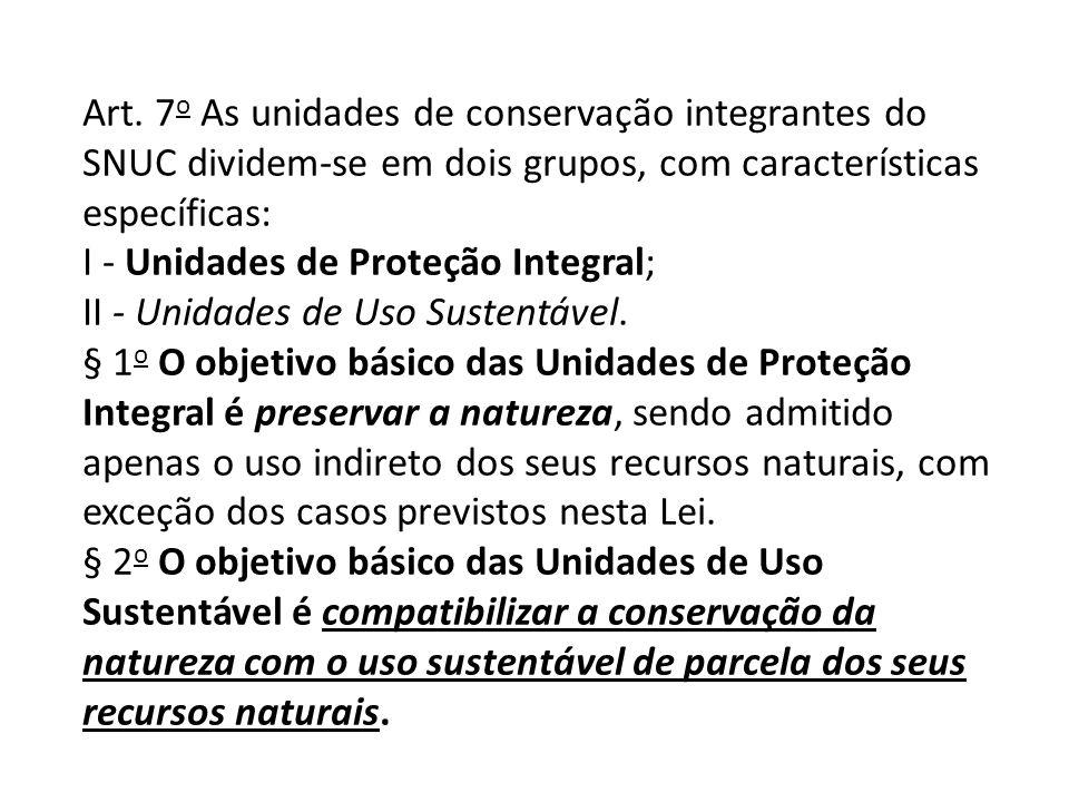 Art. 7o As unidades de conservação integrantes do SNUC dividem-se em dois grupos, com características específicas: