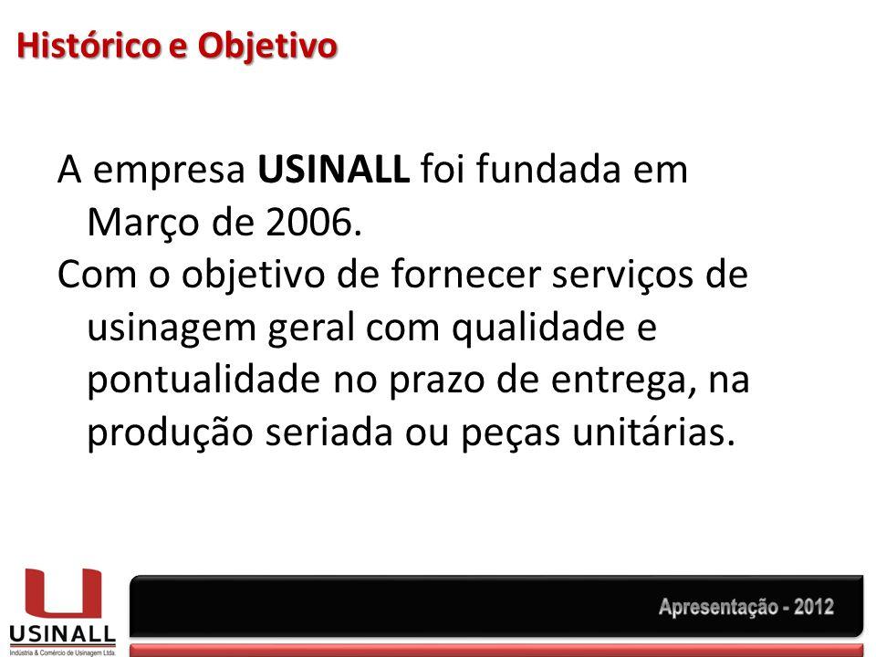 A empresa USINALL foi fundada em Março de 2006.