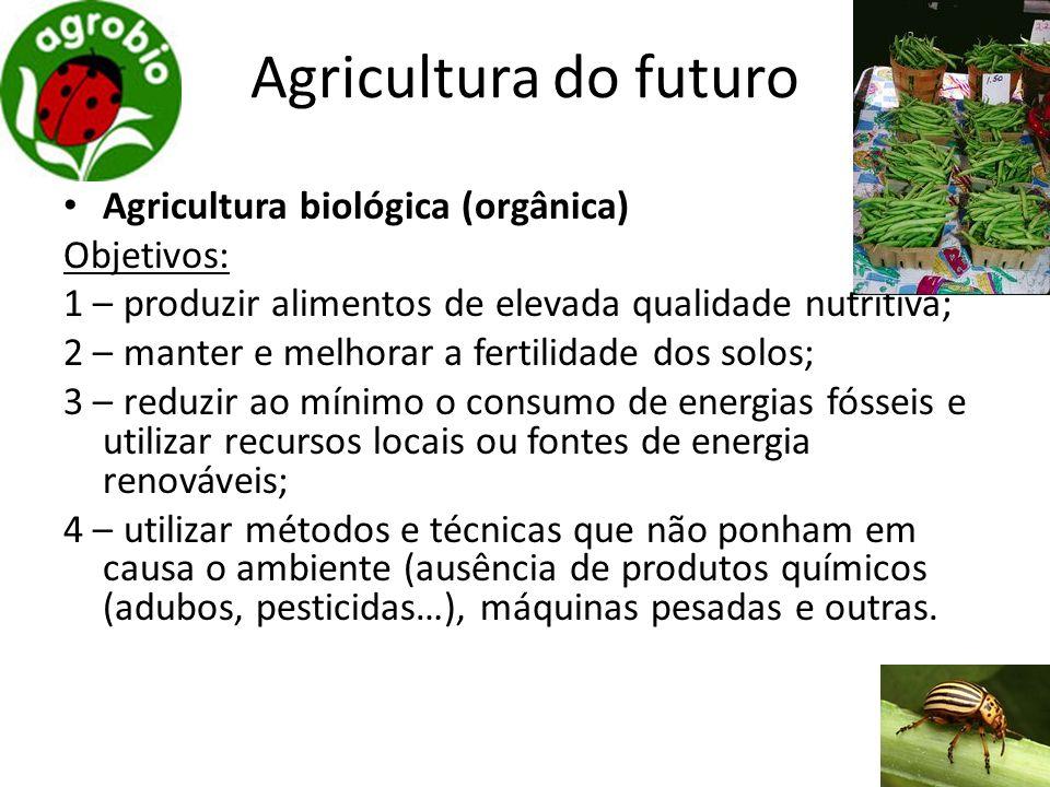 Agricultura do futuro Agricultura biológica (orgânica) Objetivos: