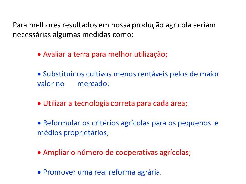 Para melhores resultados em nossa produção agrícola seriam necessárias algumas medidas como: