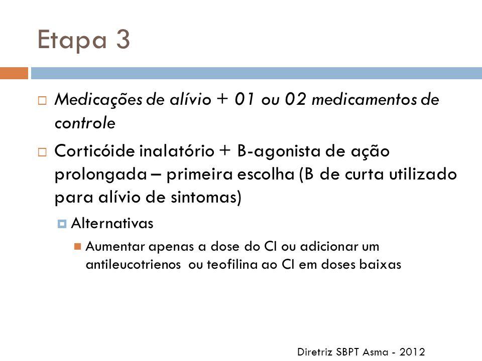 Etapa 3 Medicações de alívio + 01 ou 02 medicamentos de controle
