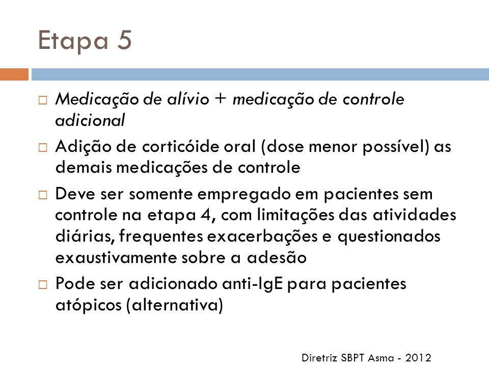 Etapa 5 Medicação de alívio + medicação de controle adicional