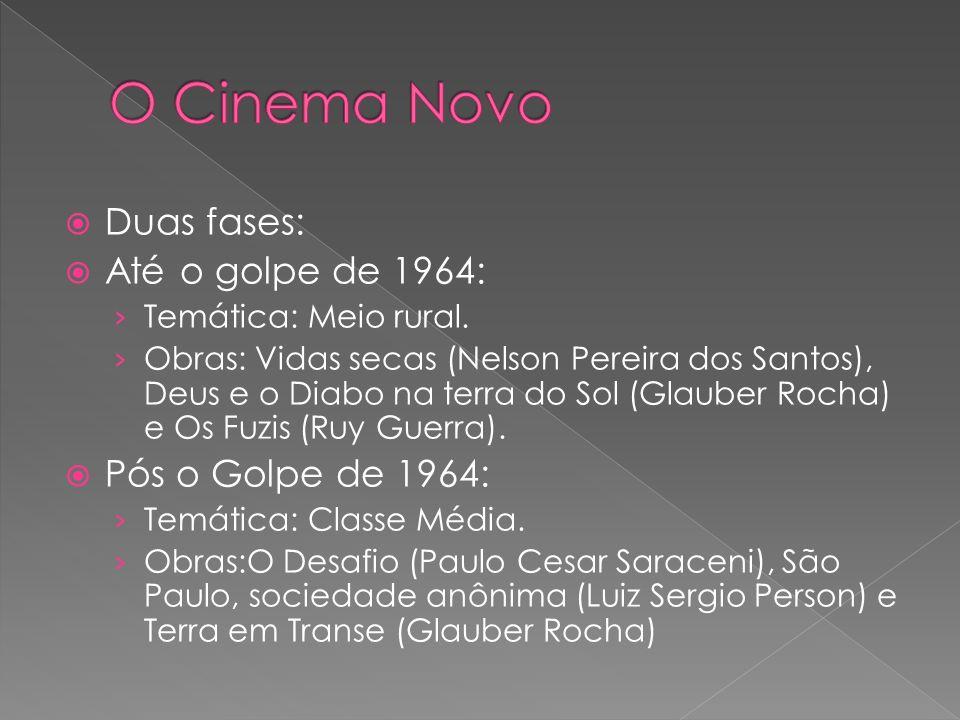 O Cinema Novo Duas fases: Até o golpe de 1964: Pós o Golpe de 1964: