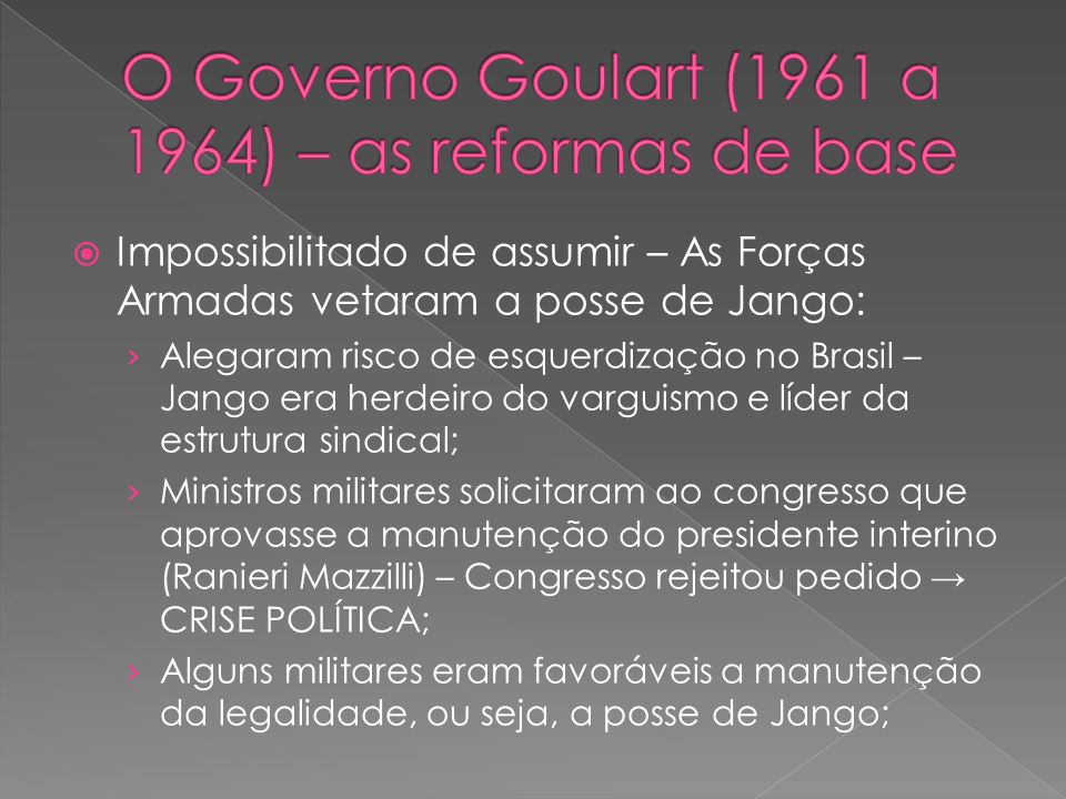 O Governo Goulart (1961 a 1964) – as reformas de base
