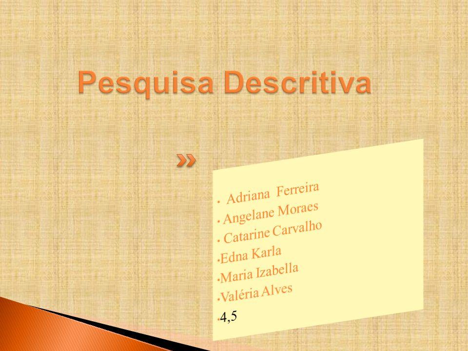 Pesquisa Descritiva Adriana Ferreira Angelane Moraes Catarine Carvalho