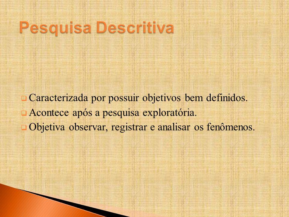 Pesquisa Descritiva Caracterizada por possuir objetivos bem definidos.