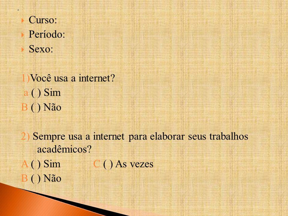 2) Sempre usa a internet para elaborar seus trabalhos acadêmicos