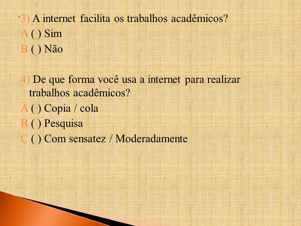 3) A internet facilita os trabalhos acadêmicos