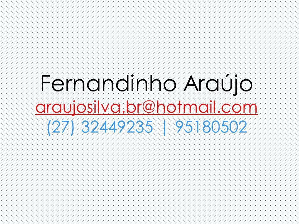 Fernandinho Araújo araujosilva.br@hotmail.com (27) 32449235 | 95180502