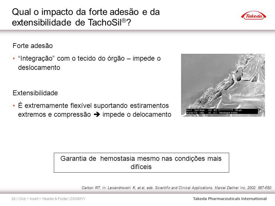 Qual o impacto da forte adesão e da extensibilidade de TachoSil®