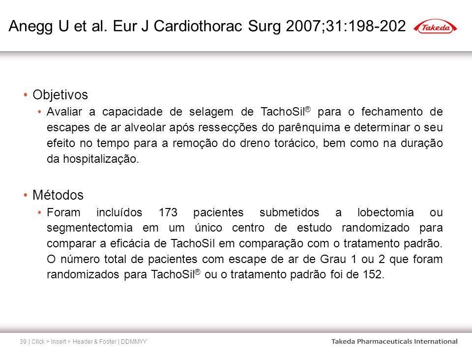 Anegg U et al. Eur J Cardiothorac Surg 2007;31:198-202