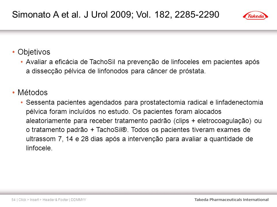 Simonato A et al. J Urol 2009; Vol. 182, 2285-2290