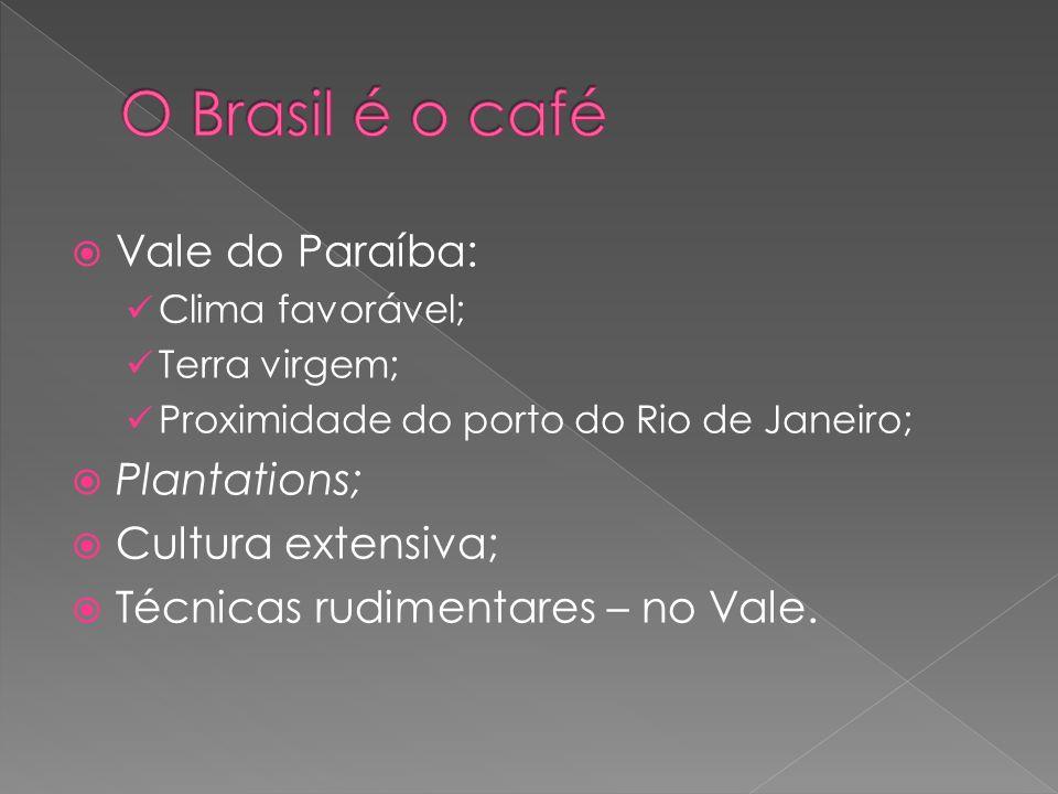 O Brasil é o café Vale do Paraíba: Plantations; Cultura extensiva;