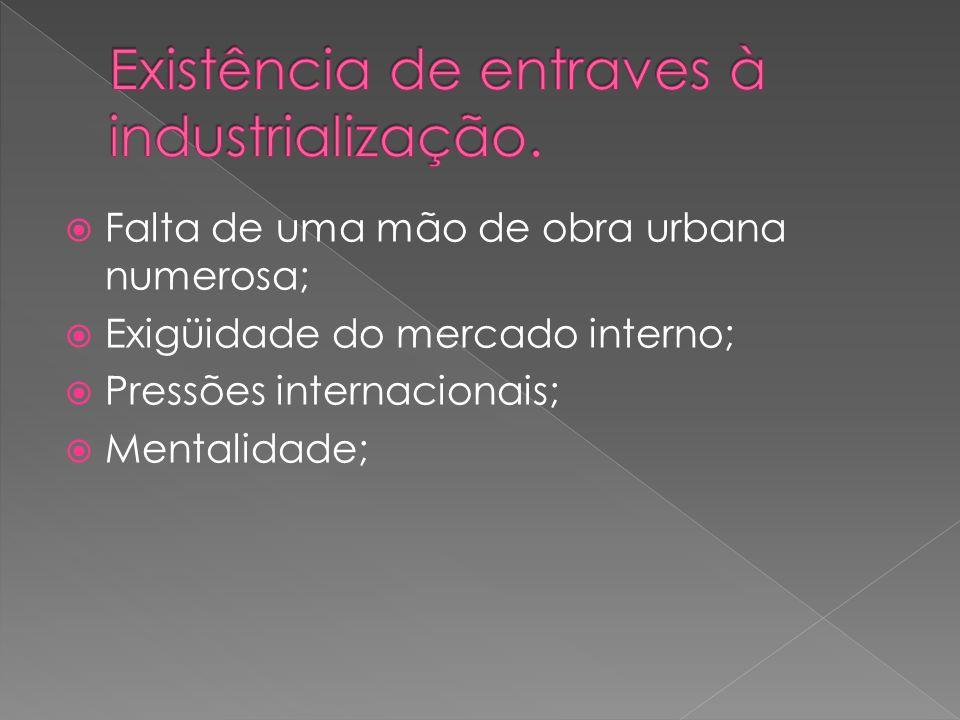 Existência de entraves à industrialização.