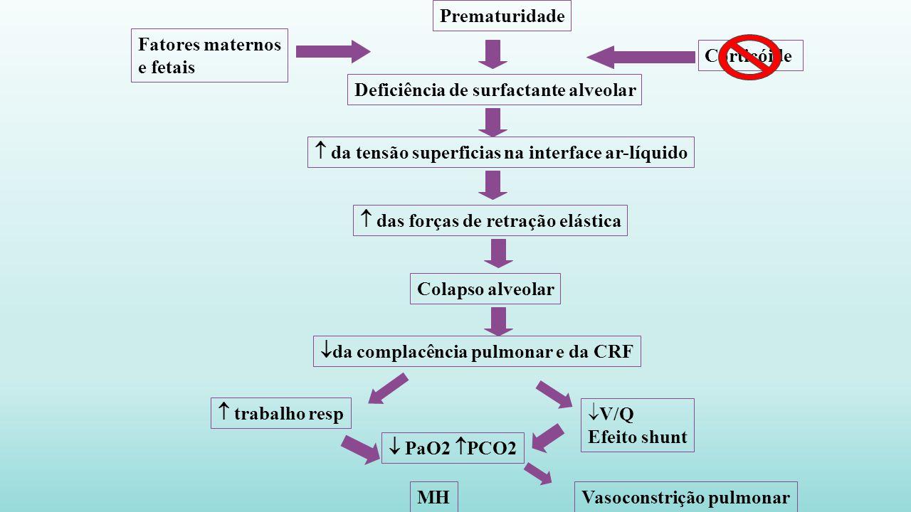 Prematuridade Fatores maternos. e fetais. Corticóide. Deficiência de surfactante alveolar.  da tensão superficias na interface ar-líquido.