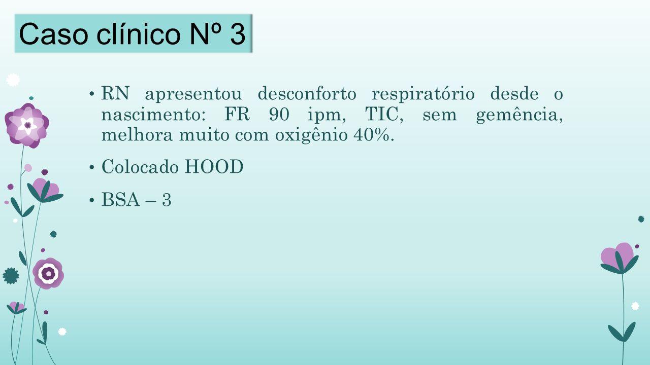 Caso clínico Nº 3 RN apresentou desconforto respiratório desde o nascimento: FR 90 ipm, TIC, sem gemência, melhora muito com oxigênio 40%.