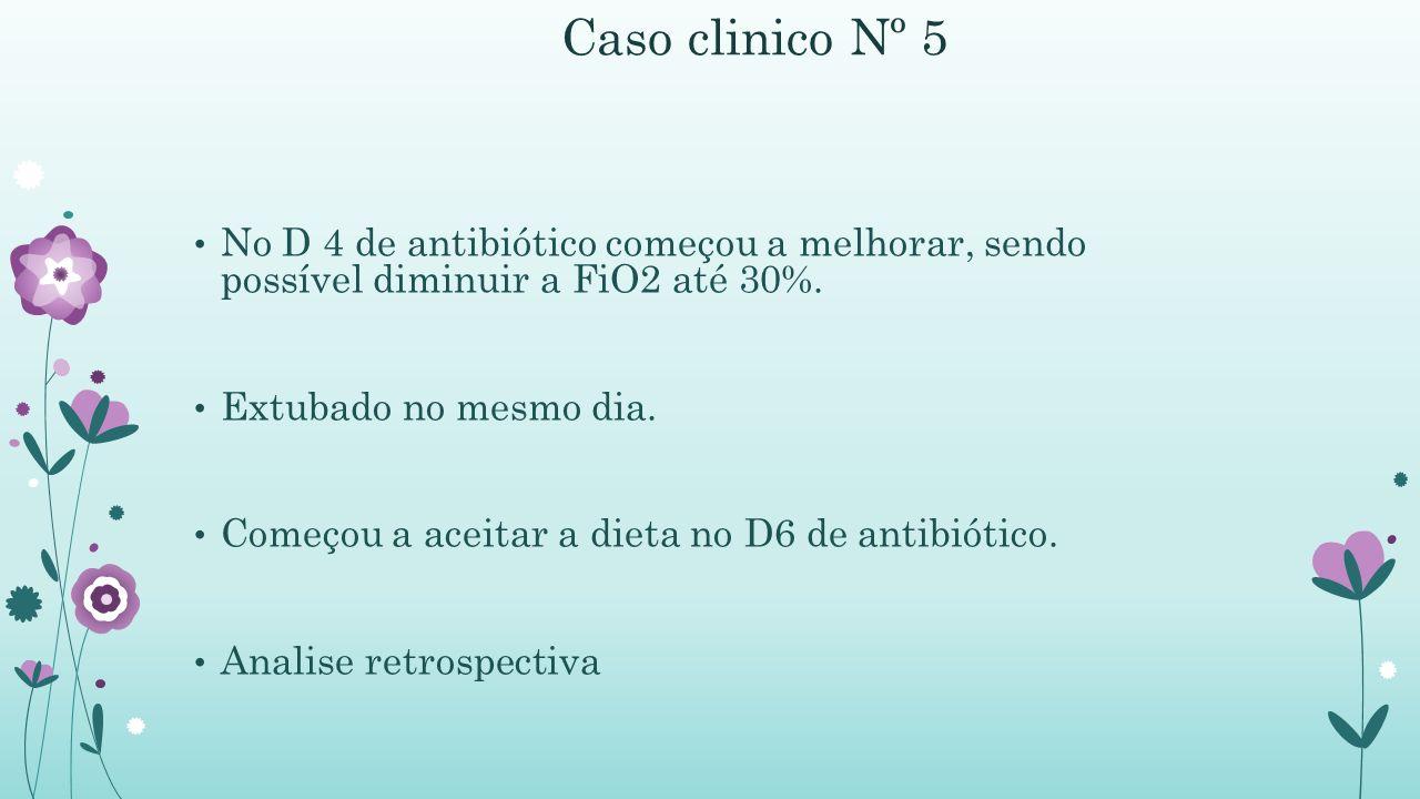Caso clinico Nº 5 No D 4 de antibiótico começou a melhorar, sendo possível diminuir a FiO2 até 30%.