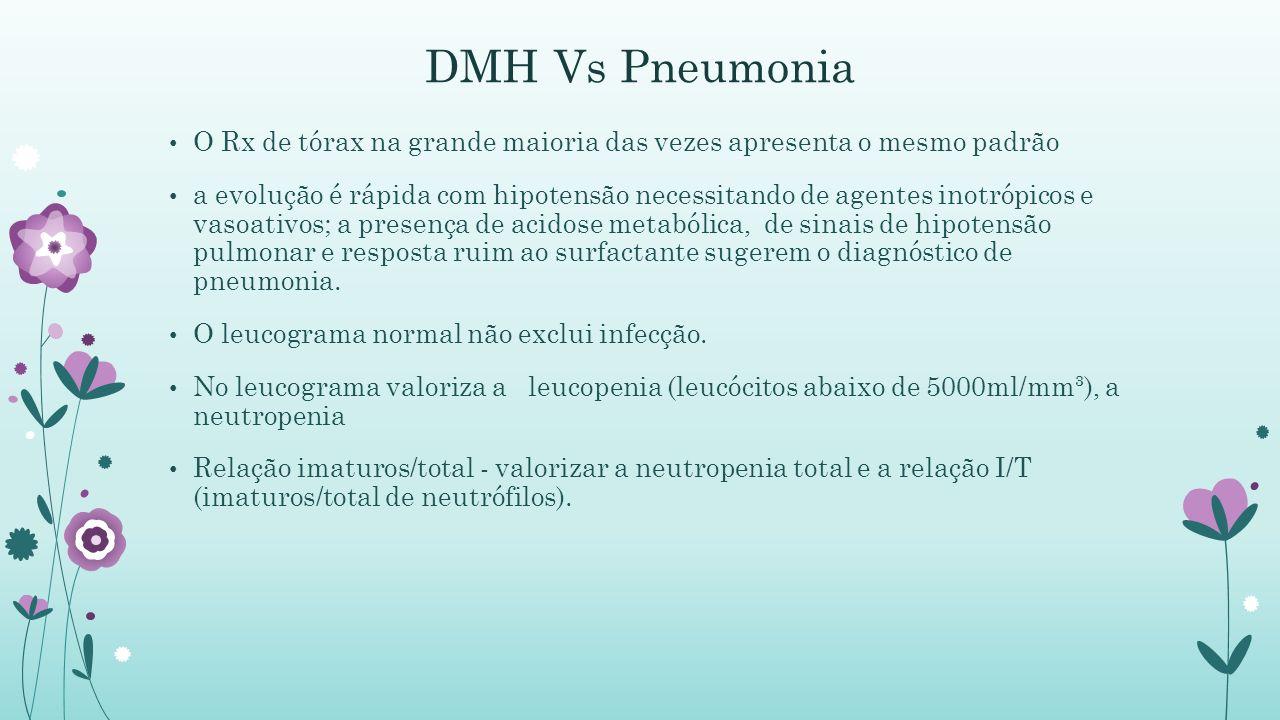 DMH Vs Pneumonia O Rx de tórax na grande maioria das vezes apresenta o mesmo padrão.