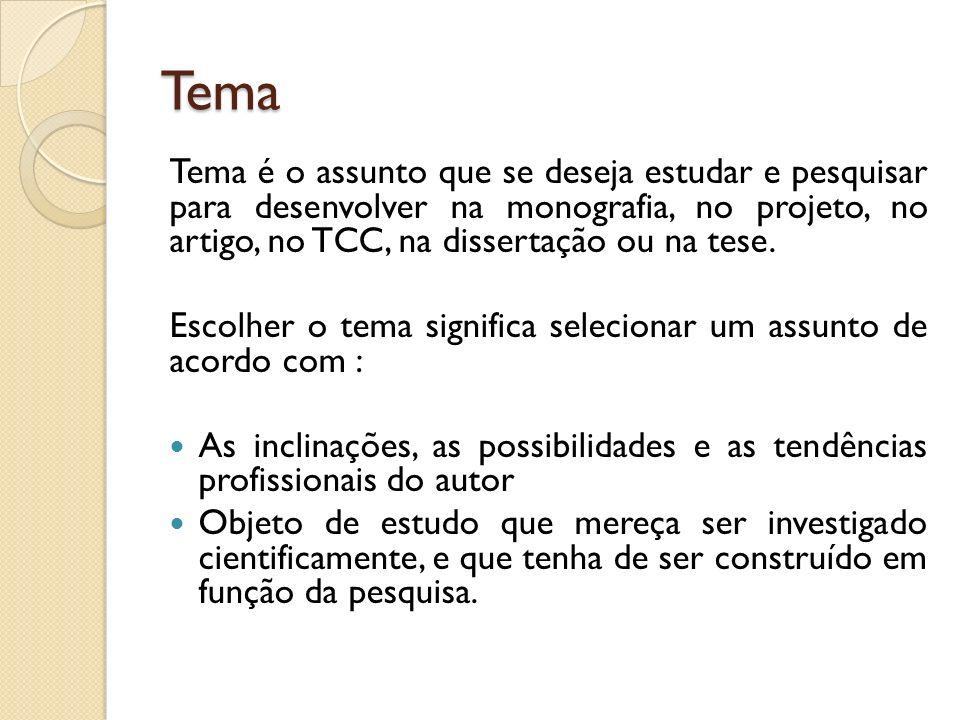 Tema Tema é o assunto que se deseja estudar e pesquisar para desenvolver na monografia, no projeto, no artigo, no TCC, na dissertação ou na tese.
