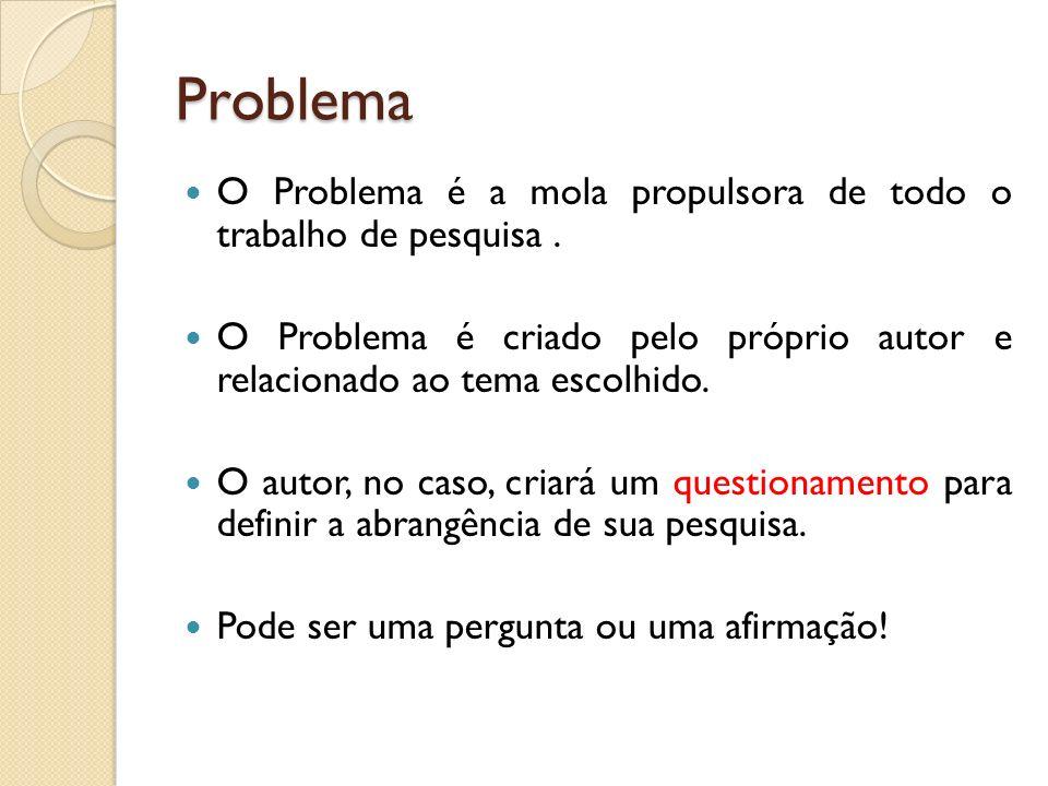 Problema O Problema é a mola propulsora de todo o trabalho de pesquisa . O Problema é criado pelo próprio autor e relacionado ao tema escolhido.