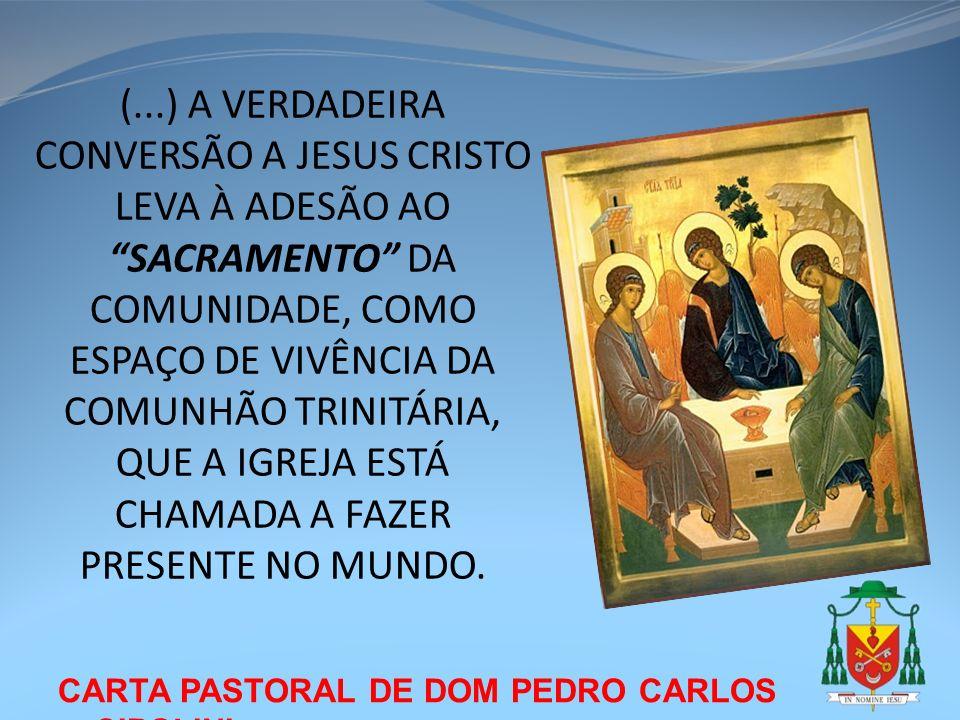 (...) A VERDADEIRA CONVERSÃO A JESUS CRISTO LEVA À ADESÃO AO SACRAMENTO DA COMUNIDADE, COMO ESPAÇO DE VIVÊNCIA DA COMUNHÃO TRINITÁRIA, QUE A IGREJA ESTÁ CHAMADA A FAZER PRESENTE NO MUNDO.