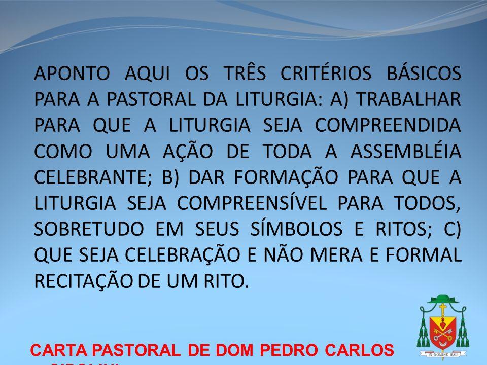 APONTO AQUI OS TRÊS CRITÉRIOS BÁSICOS PARA A PASTORAL DA LITURGIA: A) TRABALHAR PARA QUE A LITURGIA SEJA COMPREENDIDA COMO UMA AÇÃO DE TODA A ASSEMBLÉIA CELEBRANTE; B) DAR FORMAÇÃO PARA QUE A LITURGIA SEJA COMPREENSÍVEL PARA TODOS, SOBRETUDO EM SEUS SÍMBOLOS E RITOS; C) QUE SEJA CELEBRAÇÃO E NÃO MERA E FORMAL RECITAÇÃO DE UM RITO.