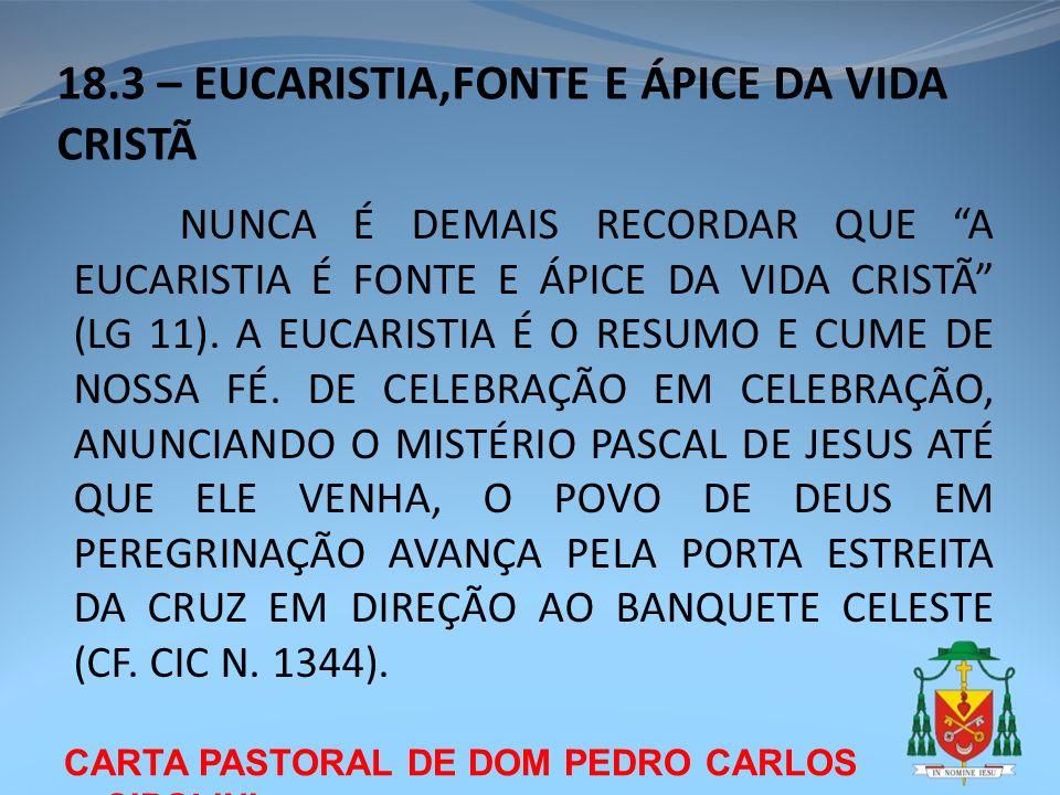 18.3 – EUCARISTIA,FONTE E ÁPICE DA VIDA CRISTÃ