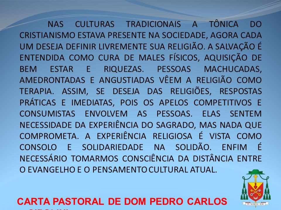 CARTA PASTORAL DE DOM PEDRO CARLOS CIPOLINI