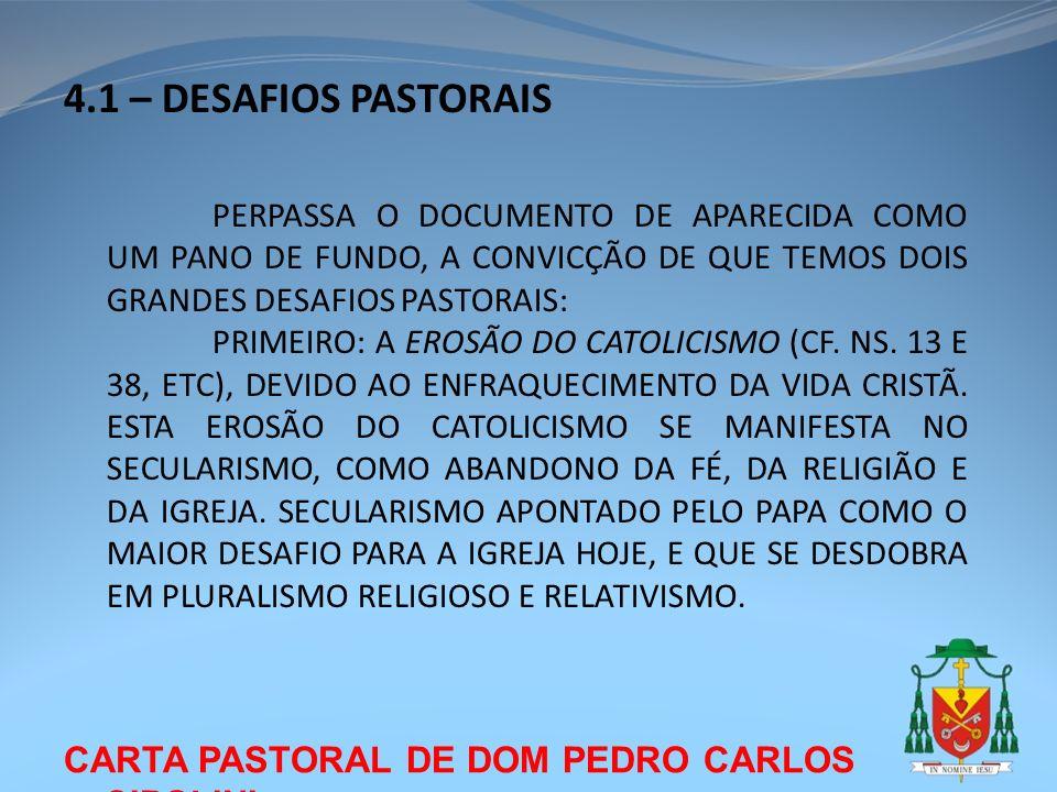 4.1 – DESAFIOS PASTORAIS CARTA PASTORAL DE DOM PEDRO CARLOS CIPOLINI