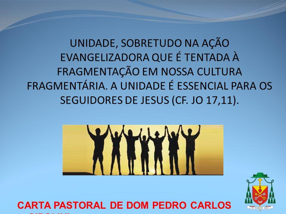 UNIDADE, SOBRETUDO NA AÇÃO EVANGELIZADORA QUE É TENTADA À FRAGMENTAÇÃO EM NOSSA CULTURA FRAGMENTÁRIA. A UNIDADE É ESSENCIAL PARA OS SEGUIDORES DE JESUS (CF. JO 17,11).