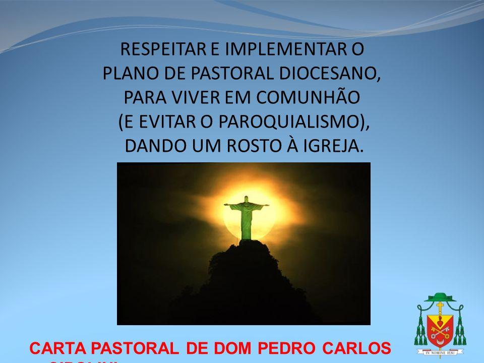 RESPEITAR E IMPLEMENTAR O PLANO DE PASTORAL DIOCESANO,