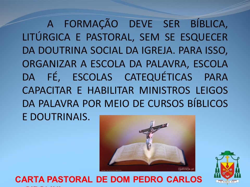 A FORMAÇÃO DEVE SER BÍBLICA, LITÚRGICA E PASTORAL, SEM SE ESQUECER DA DOUTRINA SOCIAL DA IGREJA. PARA ISSO, ORGANIZAR A ESCOLA DA PALAVRA, ESCOLA DA FÉ, ESCOLAS CATEQUÉTICAS PARA CAPACITAR E HABILITAR MINISTROS LEIGOS DA PALAVRA POR MEIO DE CURSOS BÍBLICOS E DOUTRINAIS.