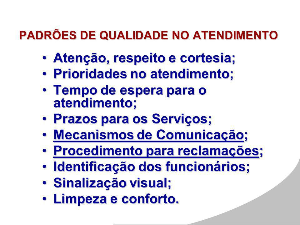 PADRÕES DE QUALIDADE NO ATENDIMENTO