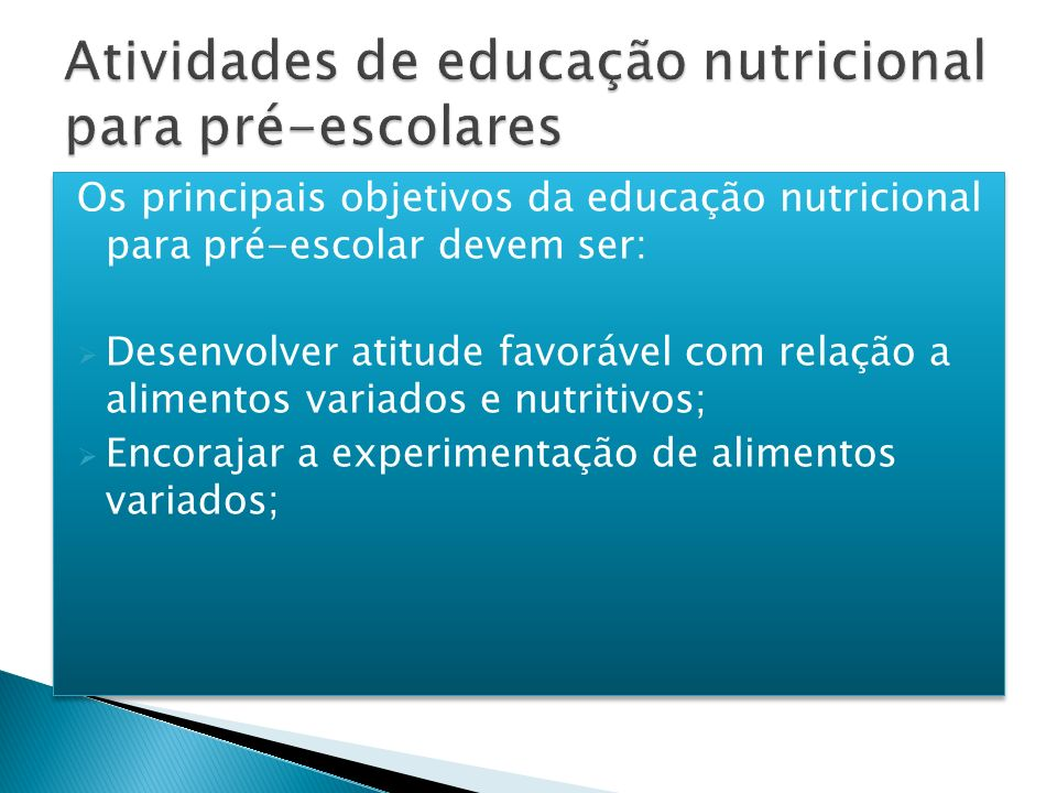 Atividades de educação nutricional para pré-escolares
