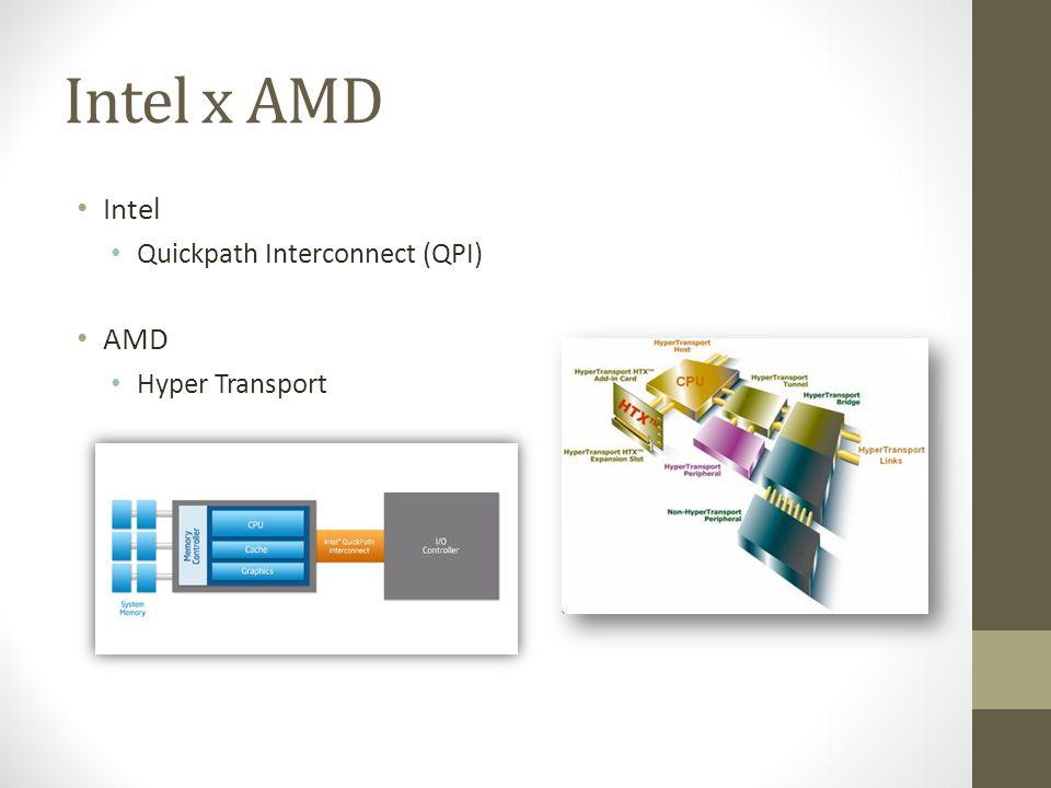Intel x AMD Intel Quickpath Interconnect (QPI) AMD Hyper Transport