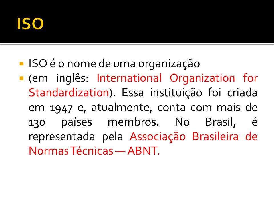 ISO ISO é o nome de uma organização