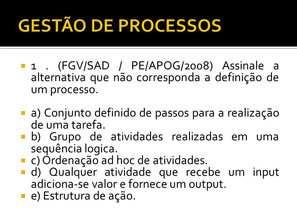GESTÃO DE PROCESSOS 1 . (FGV/SAD / PE/APOG/2008) Assinale a alternativa que não corresponda a definição de um processo.