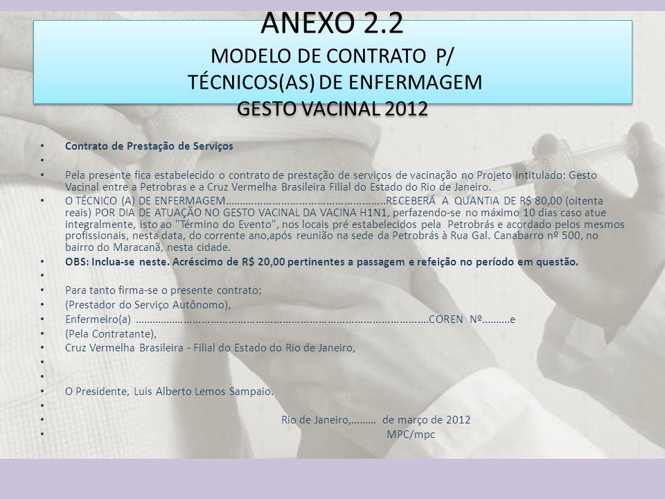 ANEXO 2.2 MODELO DE CONTRATO P/ TÉCNICOS(AS) DE ENFERMAGEM GESTO VACINAL 2012