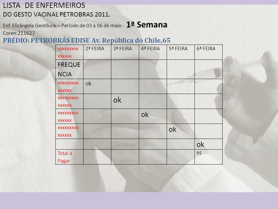 LISTA DE ENFERMEIROS DO GESTO VACINAL PETROBRAS 2011.