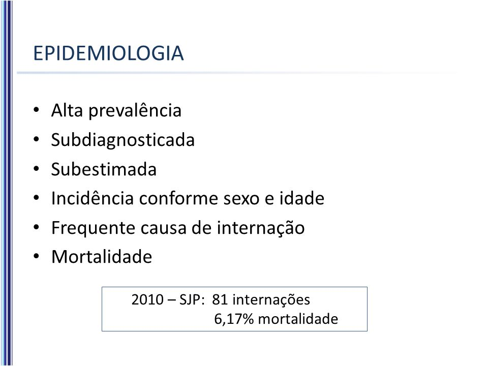 EPIDEMIOLOGIA Alta prevalência Subdiagnosticada Subestimada