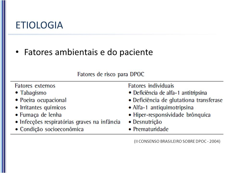 ETIOLOGIA Fatores ambientais e do paciente